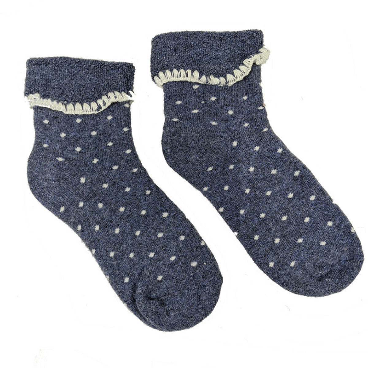 Luxurious Cuff House Socks in Blue with Dots
