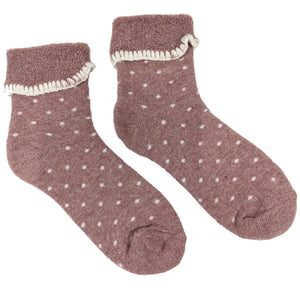 Luxurious Cuff House Socks in Dusty Pink Dots