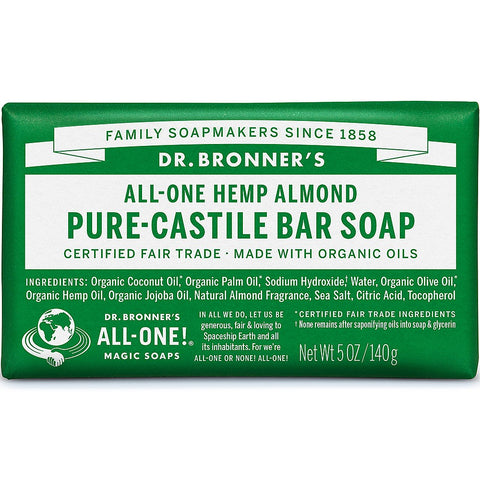 Dr Bronner's Hemp Almond Bar Soap (140g) - Cabinet Organic