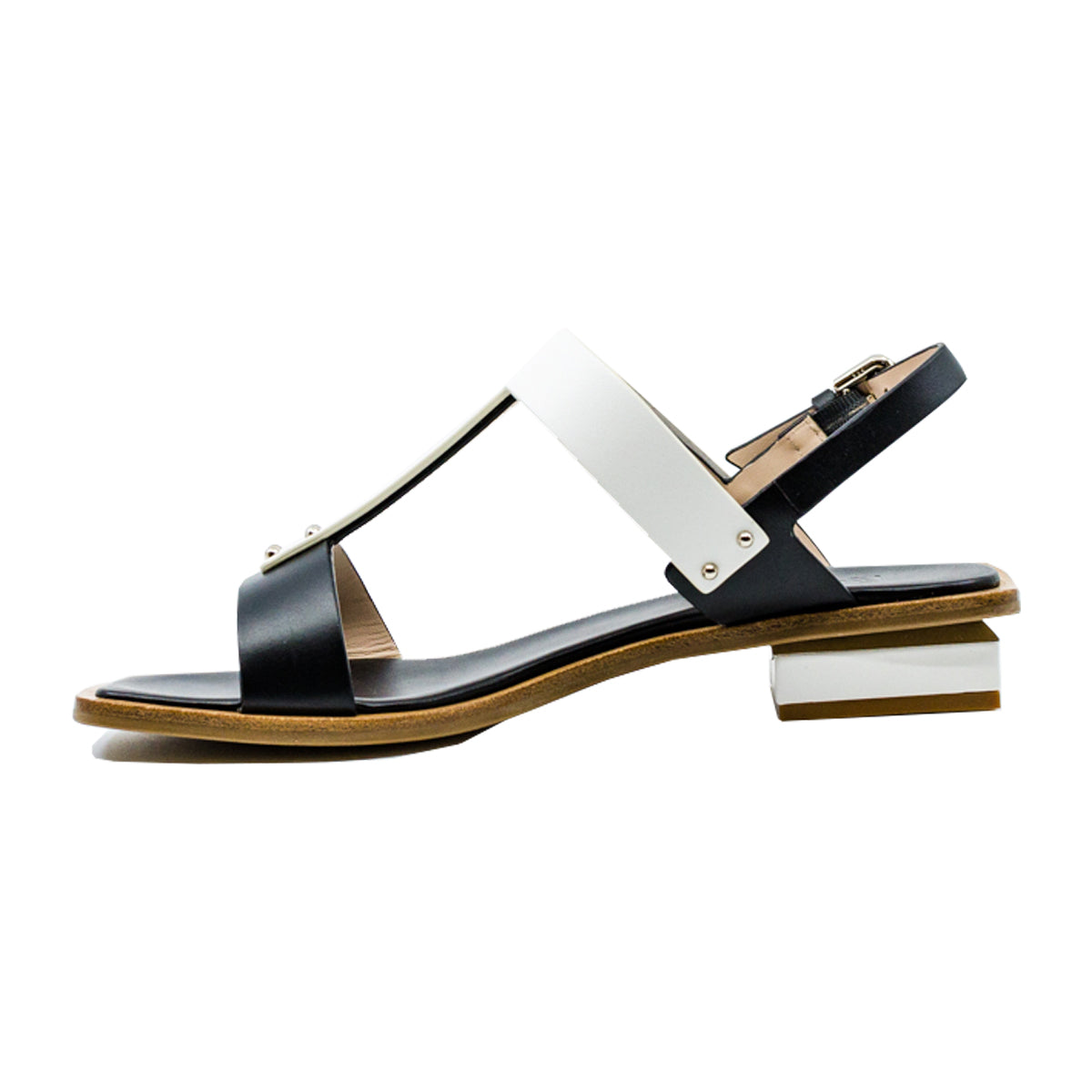 Natural T Bar Two-Tone Leather Sandals