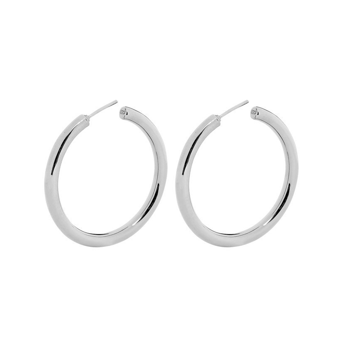 silver 925 40mm tube hoop earrings