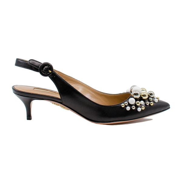 Bon Bon leather and bauble slingback mules