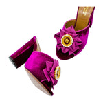 Cameo velvet and leather brooch slides
