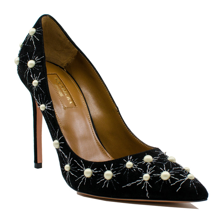 Cosmic pearl embellished suede pumps