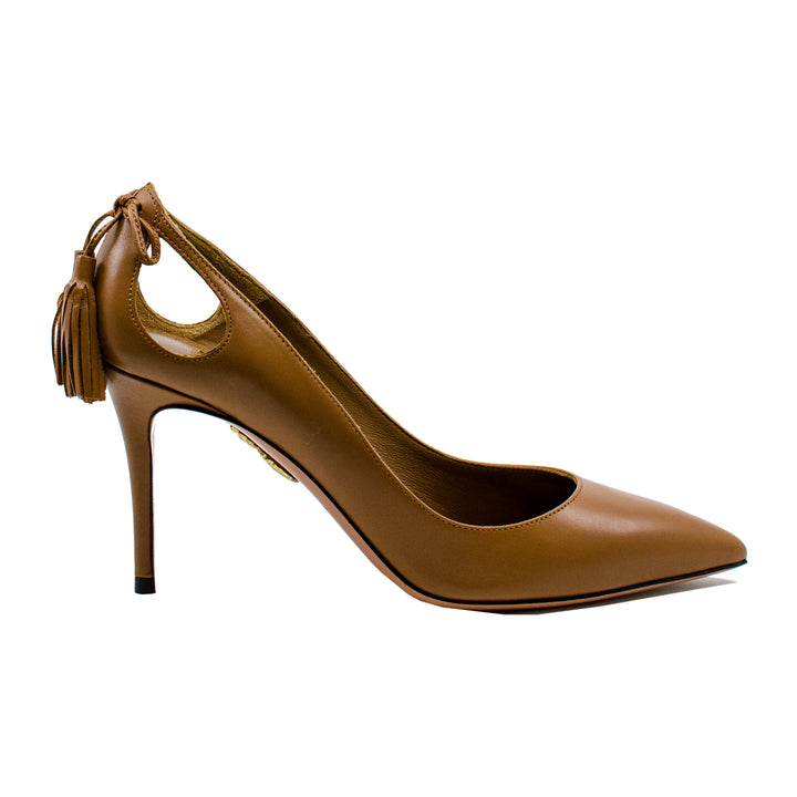 Forever Marilyn 85 leather tassel cutout pumps