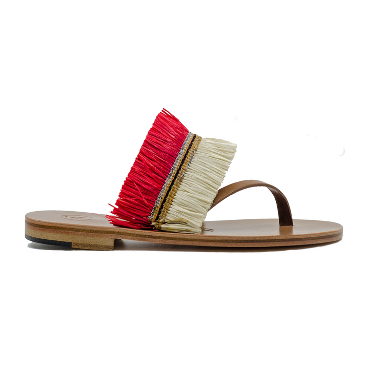 Alberta Raffia and Leather Slides