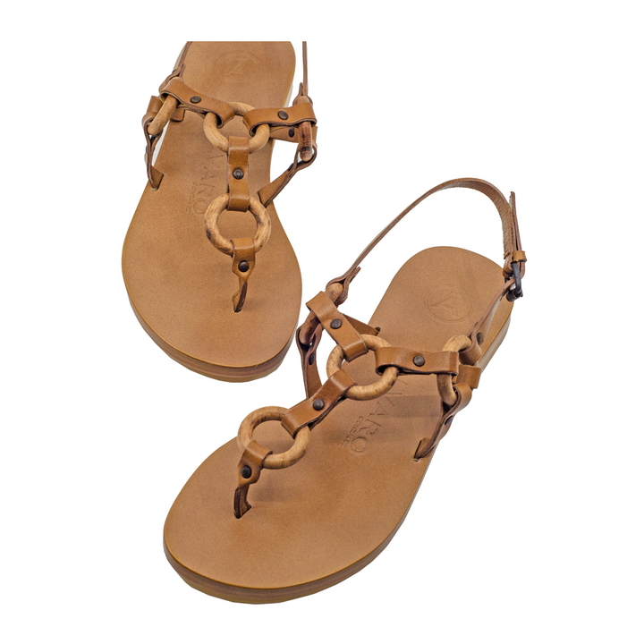 Ando Leather Circle Detail Sandals
