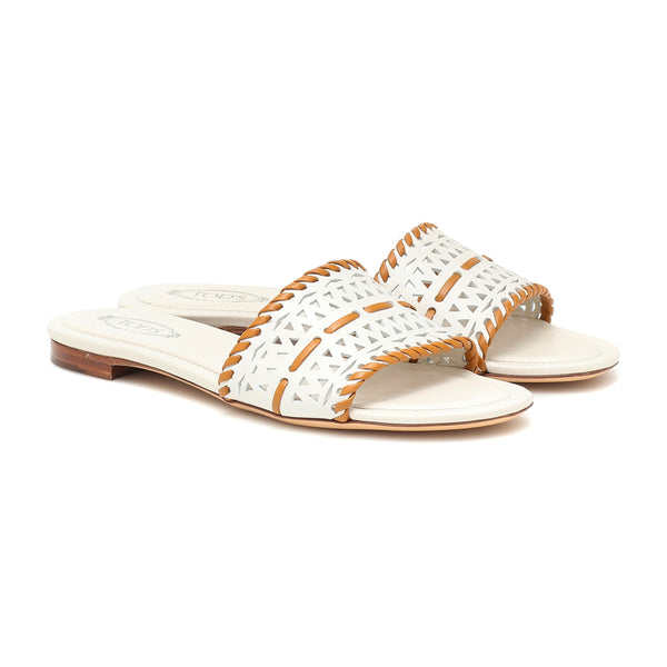 Woven Leather Slip On Slides