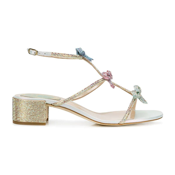 Caterina 40 Swarovski Embellished Multi Bow Mid Heel Sandals