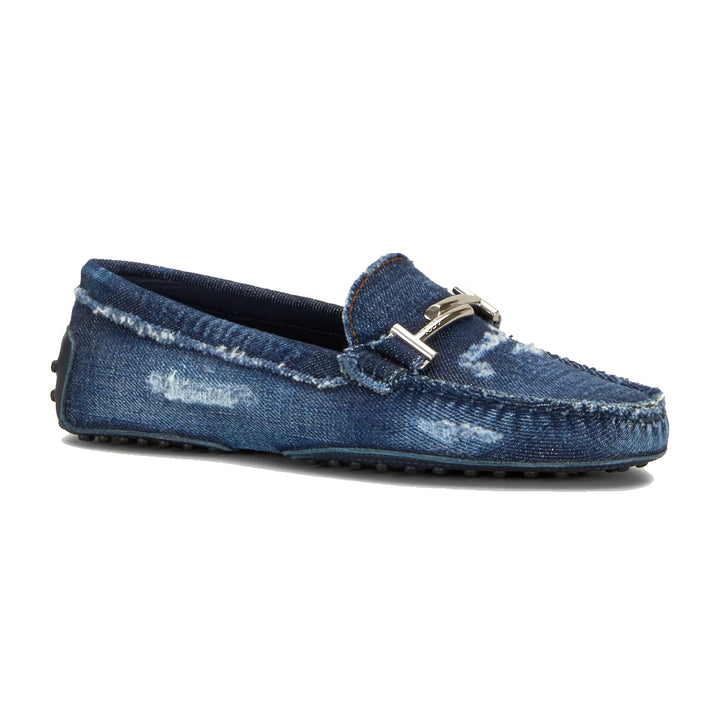 Distressed Denim Double T Gommino Loafers