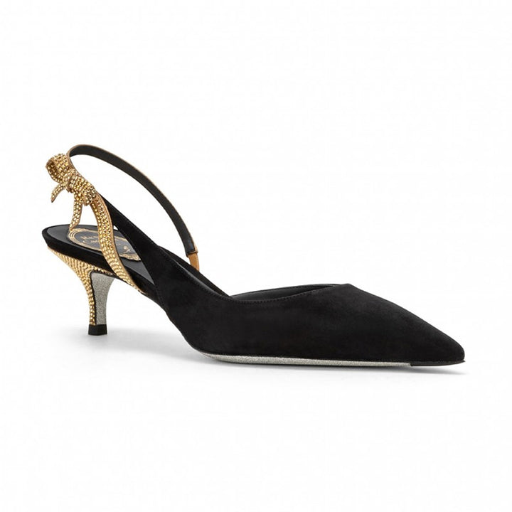 Fiocchina Suede and Swarovski Sling Back Pumps