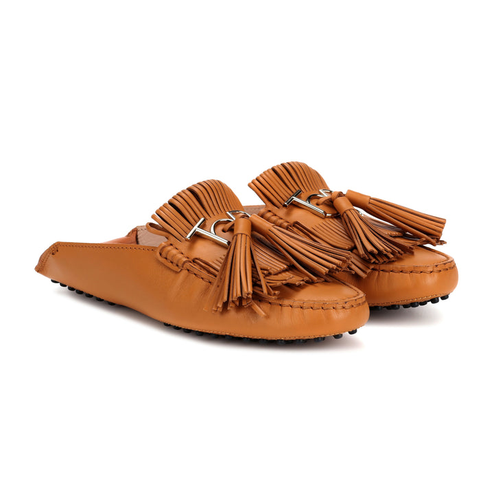 fringed logo leather fold mules