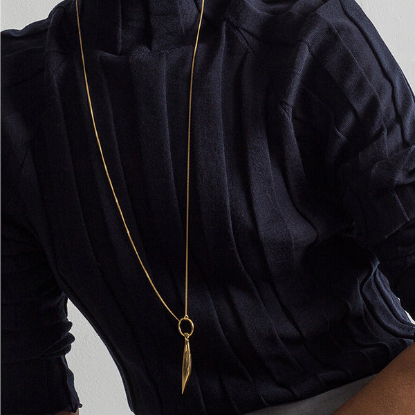Brancusi sculptural drop gold plated chain necklace