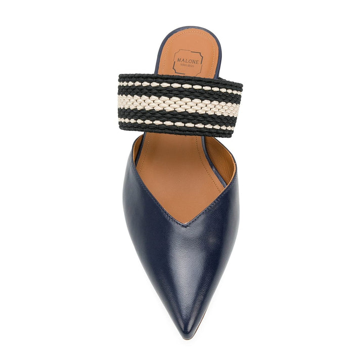 Hana elastic trimmed leather mules