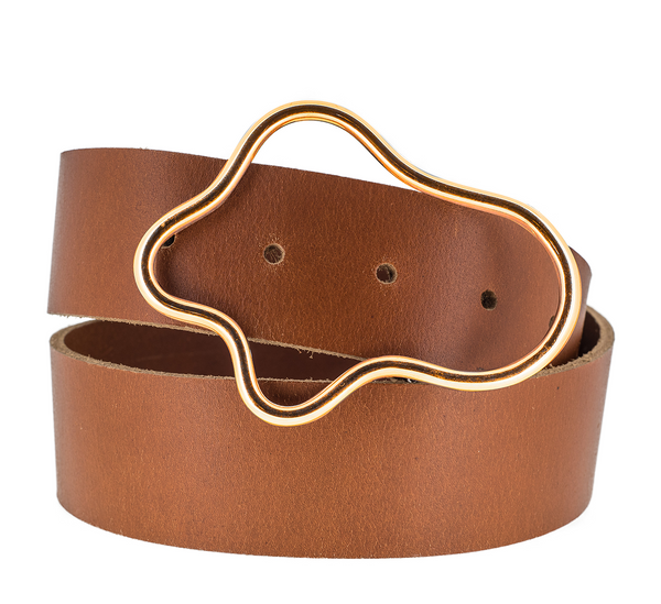 Squiggle Leather Gold Plated Belt
