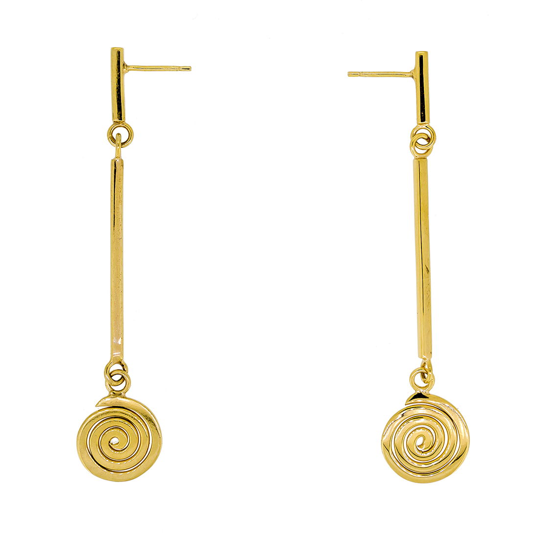 Muriel spiral gold bar drop earrings
