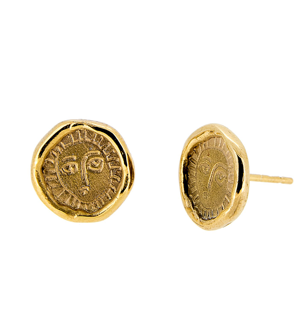 Picasso Gold Plated Stud Earrings