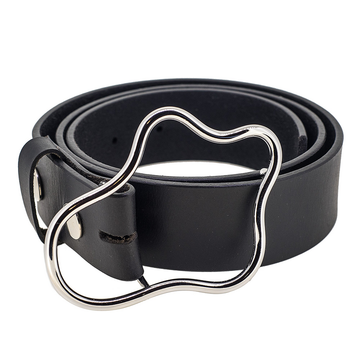 Squiggle leather silver plated belt