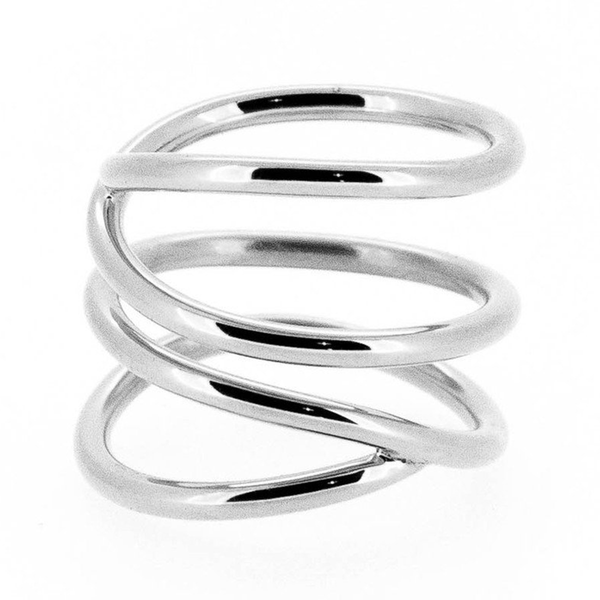 Wavee silver wire ring