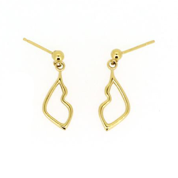 Kiss gold droplet earrings