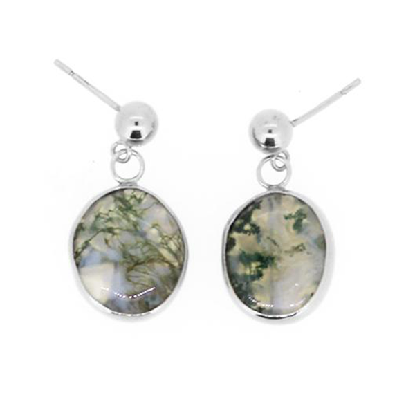 Sophie silver moss agate earrings