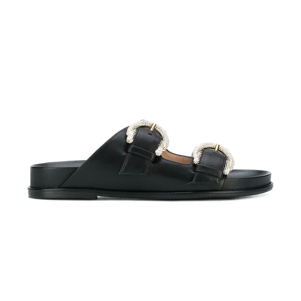 Juanita Double Strap Crystal Buckle Slides