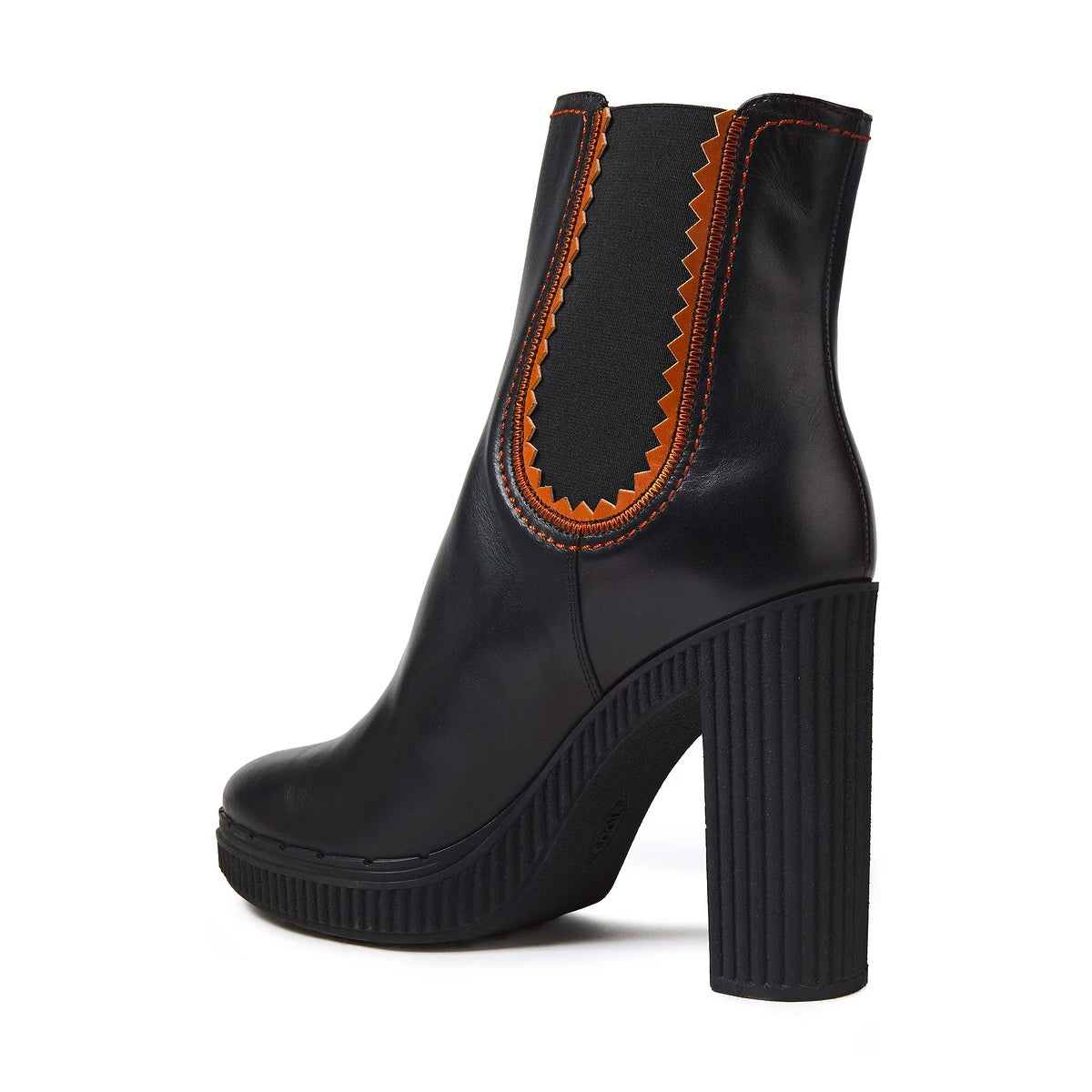 high heel ankle boots with rubber sole and elastic gusset