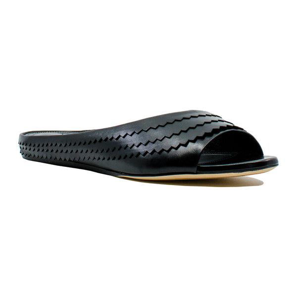 Leather Zig Zag Slides