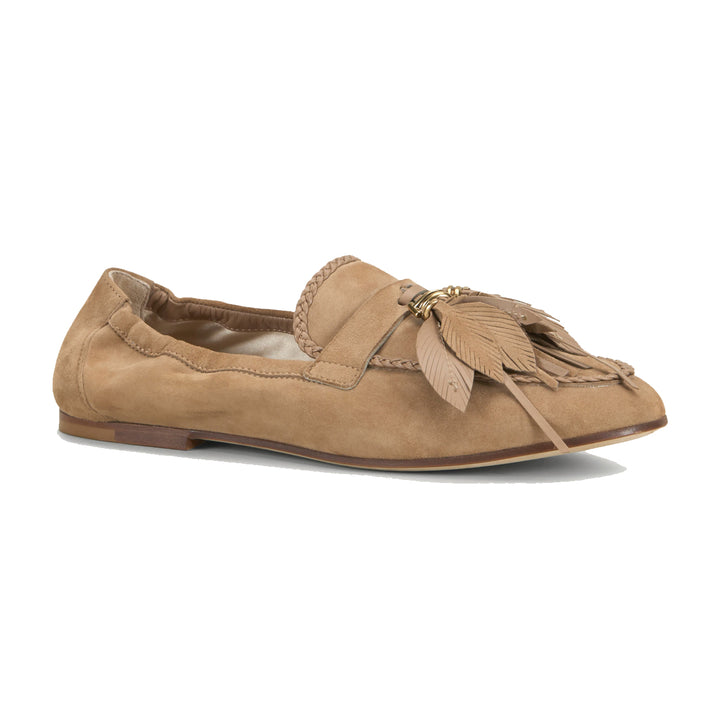 feather detail suede gommini loafers