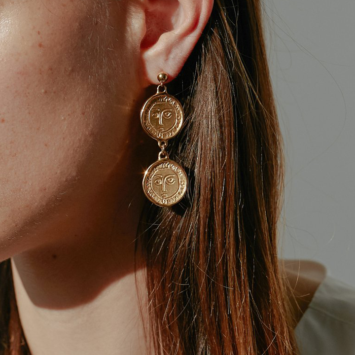 Gold Plated Picasso Double Drop Earrings