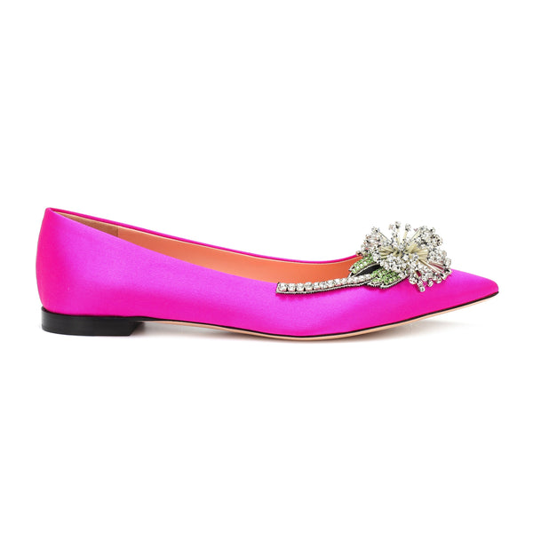 Dandelion Brooch Satin Point-toe Flats