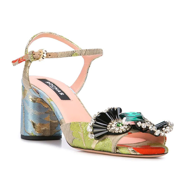 Brocade Brooch Block Heel Sandals