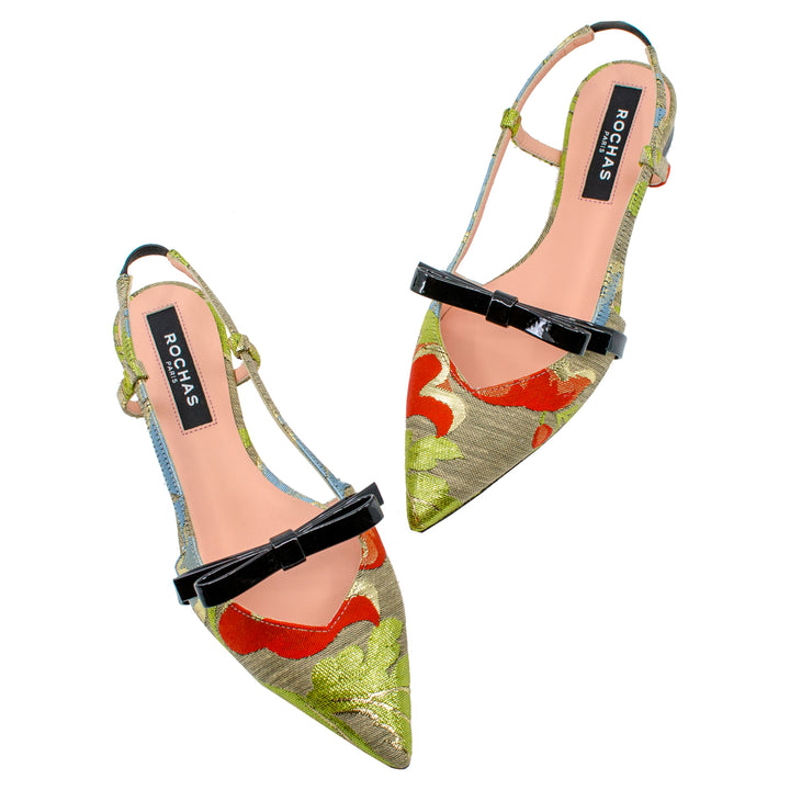 Brocade Bow Sling Back Flats