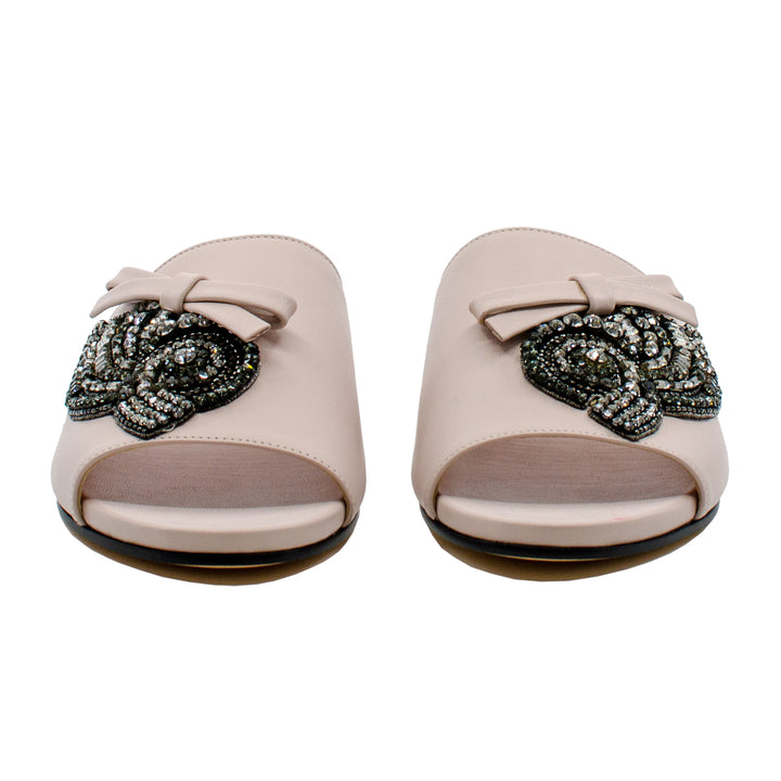 Embellished Leather Slides