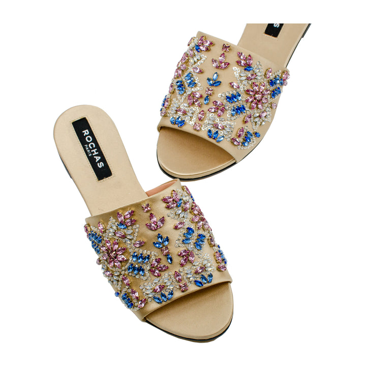 Embellished Silk Slides