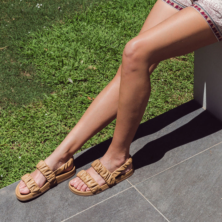 Ruched Flat Leather Sandals