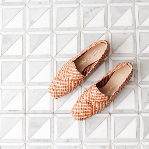 Rosie Two Tone Woven Flat Loafers