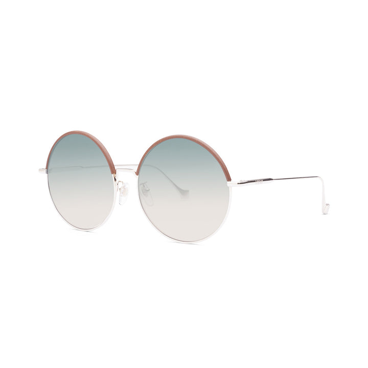 Sharon round metal and leather sunglasses