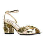 tess sequin embellished metallic mid heel sandals