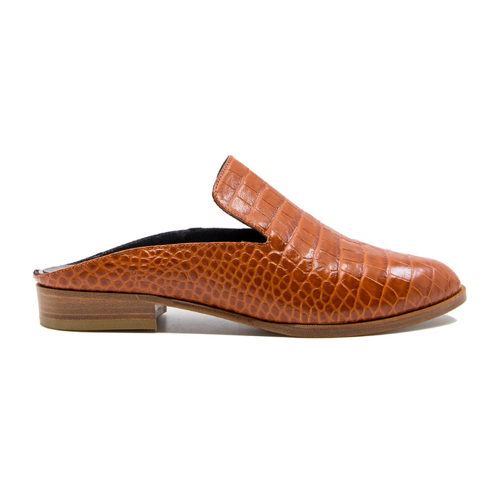 Alice croc effect leather mules