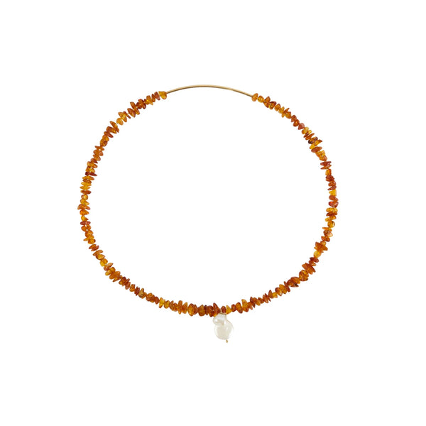 Amber Choker with Pearl Drop