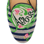 Amour Embroidered Canvas Mules
