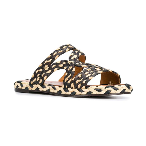 Aura Two Tone Raffia Slides