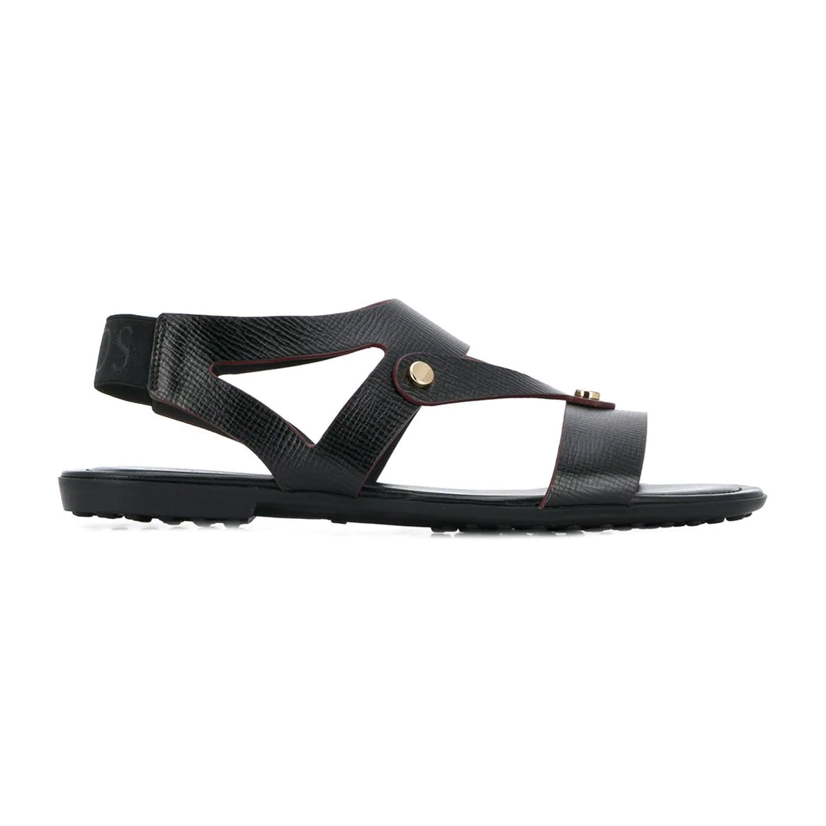 Slip-on Caged Leather Sandals with Rubber Sole