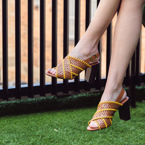 Woven High Leather Block Heel Sandals