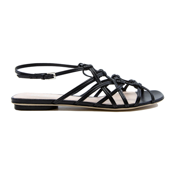 Caged Leather Flat Sandals