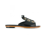 flat nappa leather slides with eyelet and lace detail