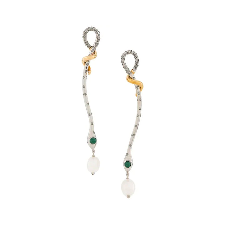 Callie Two Tone Pearl Crystal Enamel Earrings