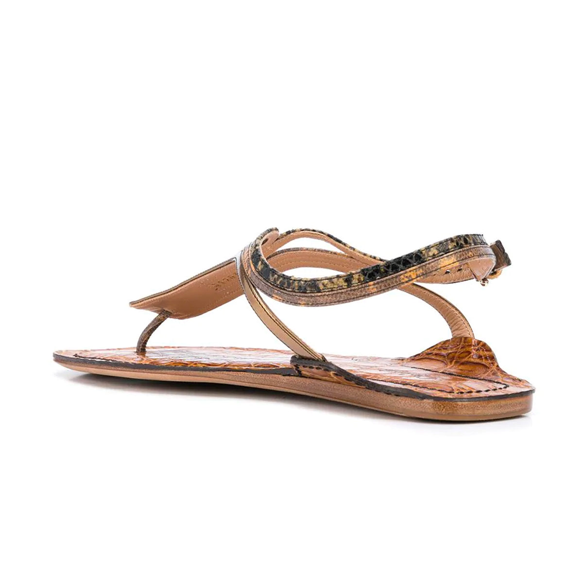 Carla Snake and Croc Effect Flat Sandals