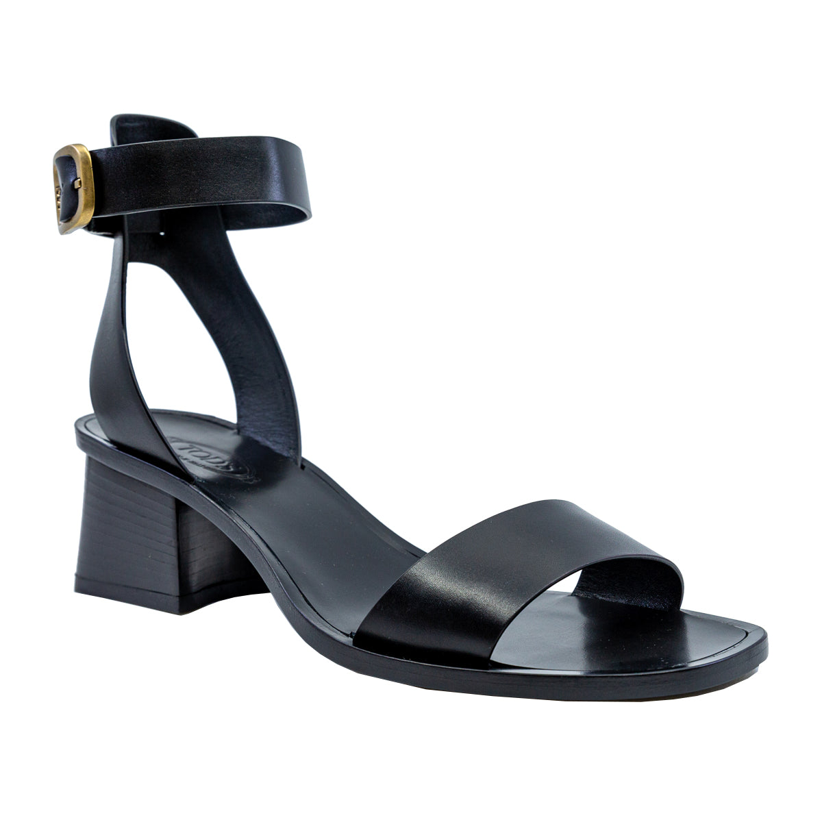 Double Strap Leather Block Heel Sandals